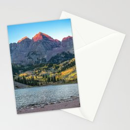 Maroon Bells Morning - Sunrise and Autumn Color near Aspen, Colorado Stationery Cards