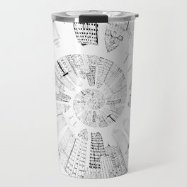 black and white city spiral digital painting Travel Mug