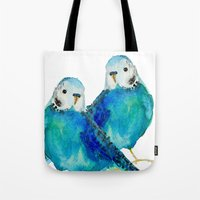 craftberrybush Tote Bags featuring Blue budgie watercolor by craftberrybush
