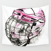 hockey Wall Tapestries featuring Hockey mandrill  by Detullio Pasquale