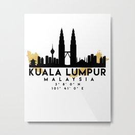 KUALA LUMPUR MALAYSIA SILHOUETTE SKYLINE MAP ART Metal Print