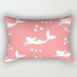 Mermaid Pattern Coral Pink Rectangular Pillow