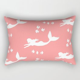Mermaid Pattern Coral Pink Rectangular Pillow