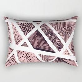 Geometric doodle pattern - pink and black Rectangular Pillow