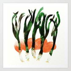 Grilled Green Onions | 100 Days of Cookbook Spots Art Print