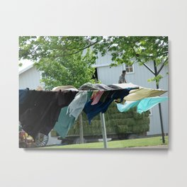 Clothes on the Line in Amish Country Metal Print