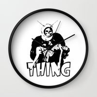the thing Wall Clocks featuring THING by Taylor Bissett