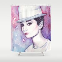audrey hepburn Shower Curtains featuring Audrey Hepburn by Olechka