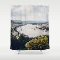 budapest Shower Curtains featuring Budapest Pano by Johnny Frazer