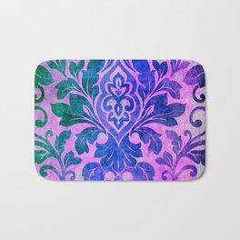 Blue Damask Pattern Bath Mat