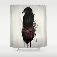Raven and Heart Grenade Shower Curtain