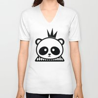 prince V-neck T-shirts featuring Panda Prince by Inkroyable