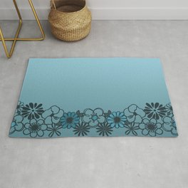 Kitschy Flower Medley Turquoise Rug