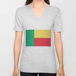 Flag of Benin. The slit in the paper with shadows.  Unisex V-Neck
