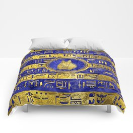 Golden Anubis  with hieroglyphs on blue Comforters