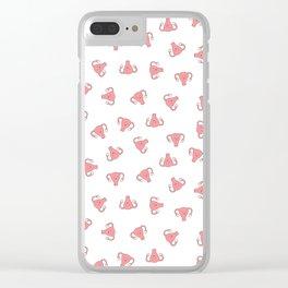 Crazy Happy Uterus in White, small repeat Clear iPhone Case