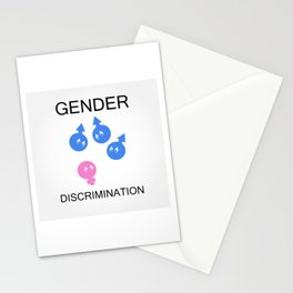 Gender discrimination- male cartoons bullying a female gender Stationery Cards