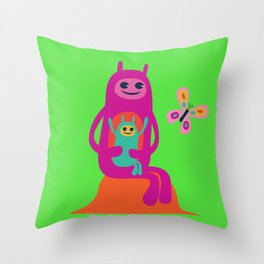 Aliens and butterfly Throw Pillow