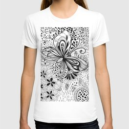 Butterfly and flowers, doodles T-shirt