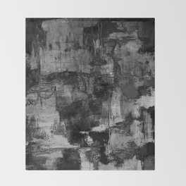 Crackled Gray - Black, white and gray, grey textured abstract Throw Blanket