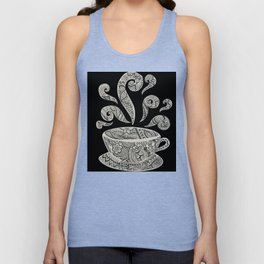 But first, Coffee - tea coffee lover zentangle Unisex Tank Top