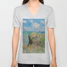 1882-Claude Monet-Cliff Walk at Pourville-66 x 82 Unisex V-Neck