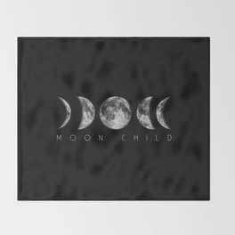 Moon Child Moon Phases Throw Blanket