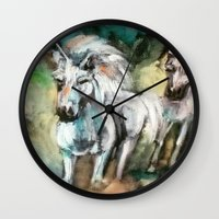 unicorns Wall Clocks featuring Unicorns by osile ignacio