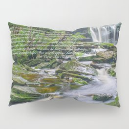 Zen Lao Tsu Quote Waterfall Nature Print Pillow Sham