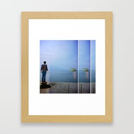 incoming ferry Framed Art Print