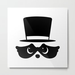 Racoon with top hat Metal Print