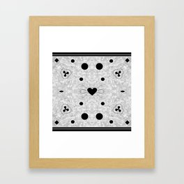 Black and Grey Multi Pattern with Heart design Framed Art Print