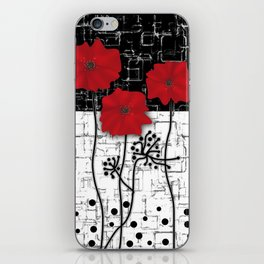 Retro. Red poppies on white background sulfur. Applique. iPhone Skin