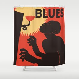 Retro The Weary Blues (music) Shower Curtain