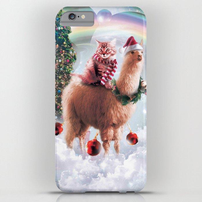 Christmas Rainbow Llama - Cat Llama iPhone Case