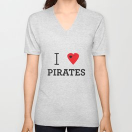 I heart Pirates Unisex V-Neck