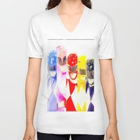 power rangers V-neck T-shirts featuring Power Rangers by americanmikey