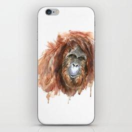 Orangutan, animal art in watercolour iPhone Skin