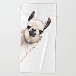 Sneaky Llama White Beach Towel