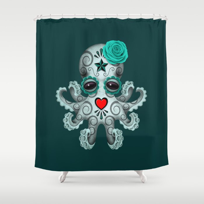 Teal Blue Day Of The Dead Sugar Skull Baby Octopus Shower Curtain