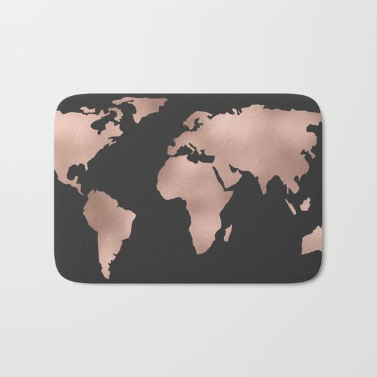 Rose Gold World Map on Dark Gray Bath Mat
