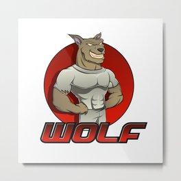Cartoon werewolf on the red background Metal Print