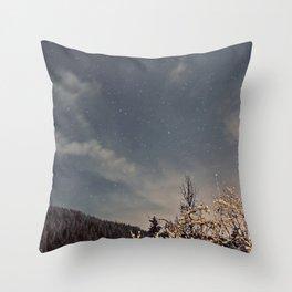 Starry Winter Nights Throw Pillow
