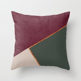 Burgundy Olive Green Gold and Nude Geometric Pattern #society6 #buyart Throw Pillow