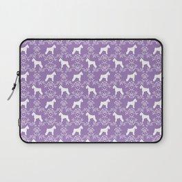 Schnauzer floral silhouette pattern schnauzers minimal lilac purple dog Laptop Sleeve