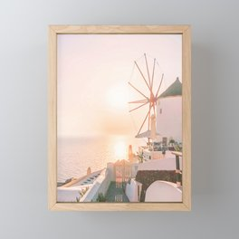 482. Pastel Sunset, Santorini, Greece Framed Mini Art Print