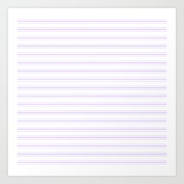 Chalky Pale Lilac Pastel and White Wide Mattress Ticking Stripes Art Print