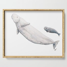 Beluga and baby beluga whale Serving Tray