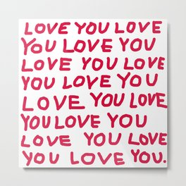 Red and white love text Metal Print