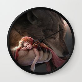 Futuristic Red Riding Hood Wall Clock